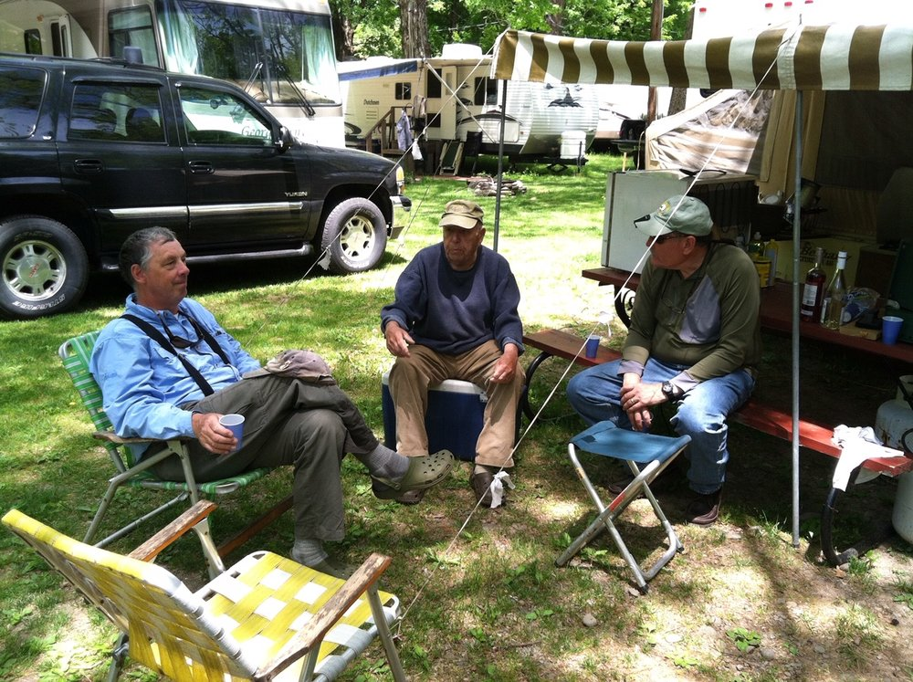 Relaxing with Dick Hepper at his Beaverkill campsite.