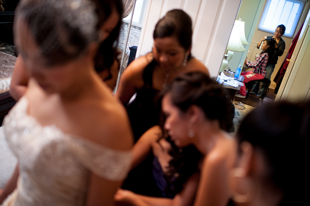 A bride get's ready for her wedding at the St. Lawrence Hall in downtown Toronto.