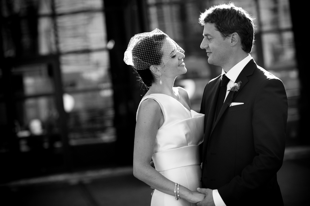 A portrait from Jennifer + Brad's wedding at the SteamWhistle Brewery by Toronto wedding photographer Scott Williams.