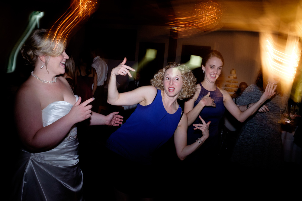 Julia dances with friends during the wedding reception.