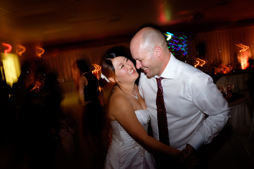 Joel + Joohee enjoy their final dance during their reception at their wedding in Tobermory.