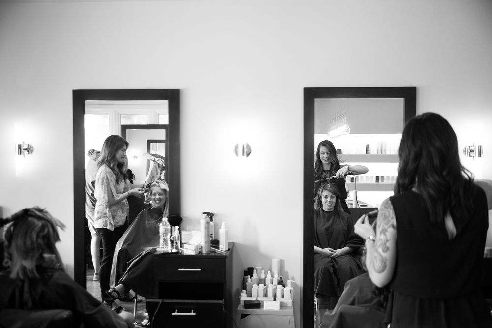 Jennifer and her maid of honour have their hair done before her wedding in Waterloo.