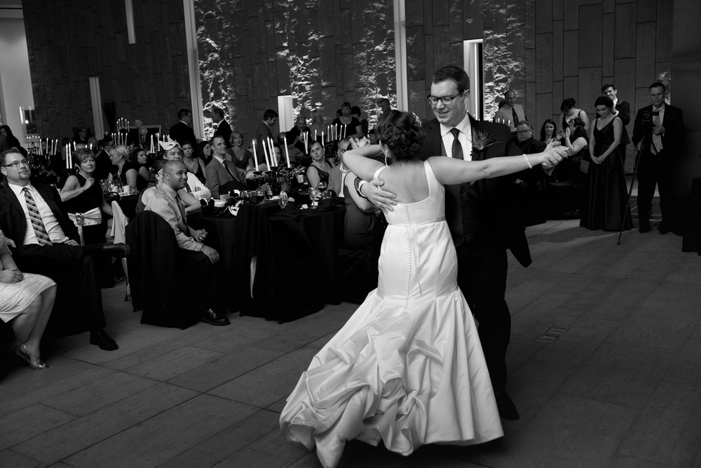 Joanna + Kris have their first dance during their wedding reception at the Waterloo Region Museum in Kitchener.