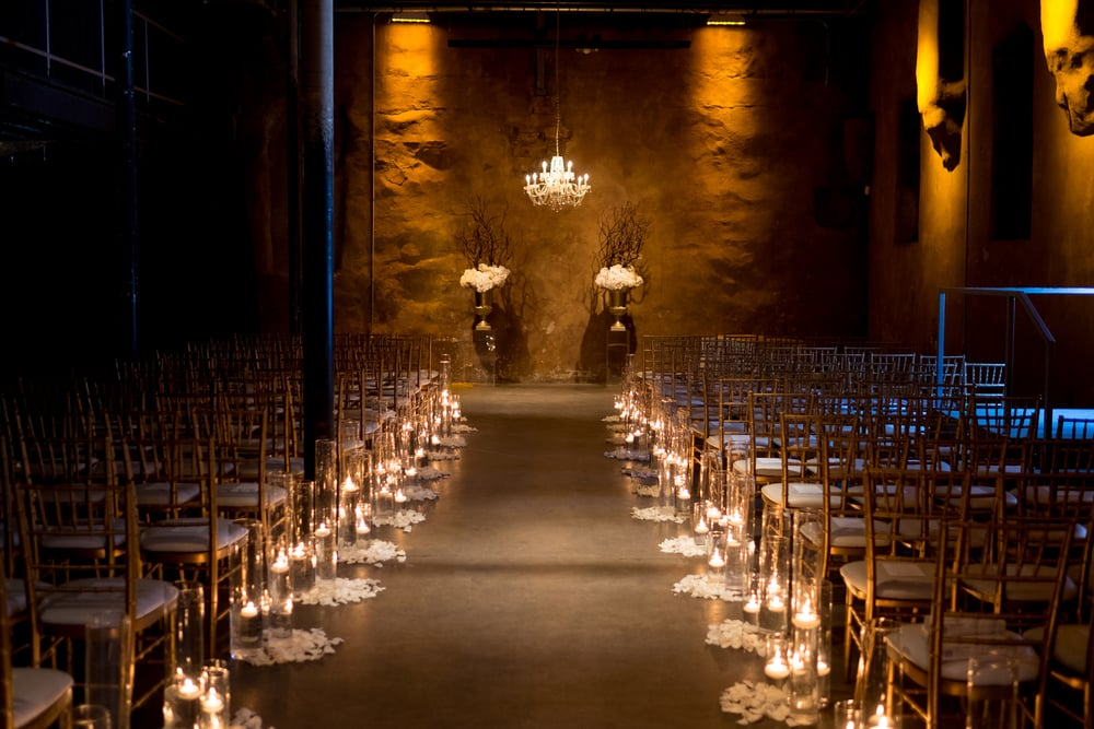 An overal detail shot of the wedding ceremony location at Toronto's Fermenting Cellar in the Distillery District.