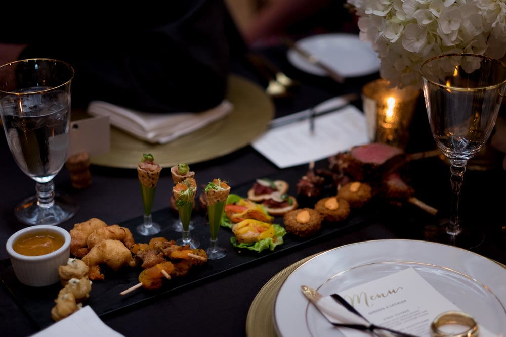 A detail shot of appetizers from a wedding reception at the Fermenting Cellar in Toronto's Distillery District.
