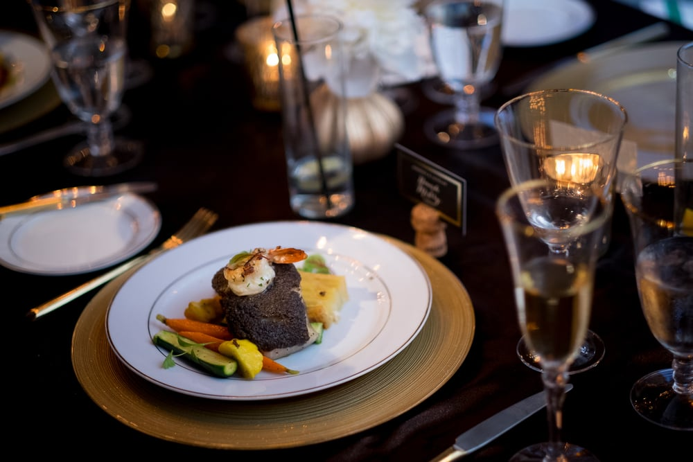 A detail shot of the main course from a wedding reception at the Fermenting Cellar in Toronto's Distillery District.