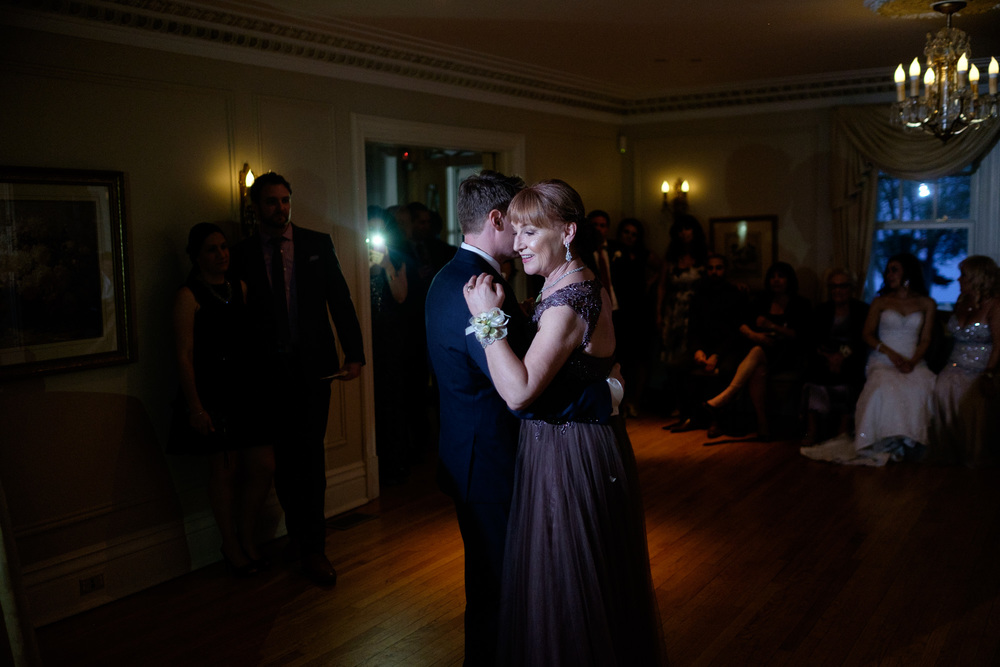 Chris dances with his mom during the wedding reception at the Paletta Mansion.