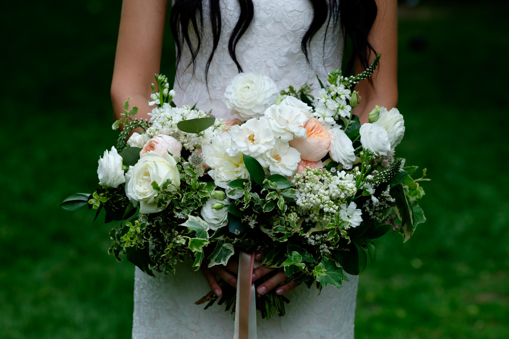 A detail shot of Danni's beautiful bouquet of wedding flowers.