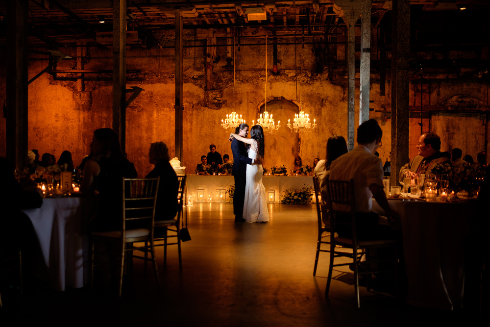 Danni + Felipe have their first dance as a married couple during their wedding reception at Toronto's Fermenting Cellar.