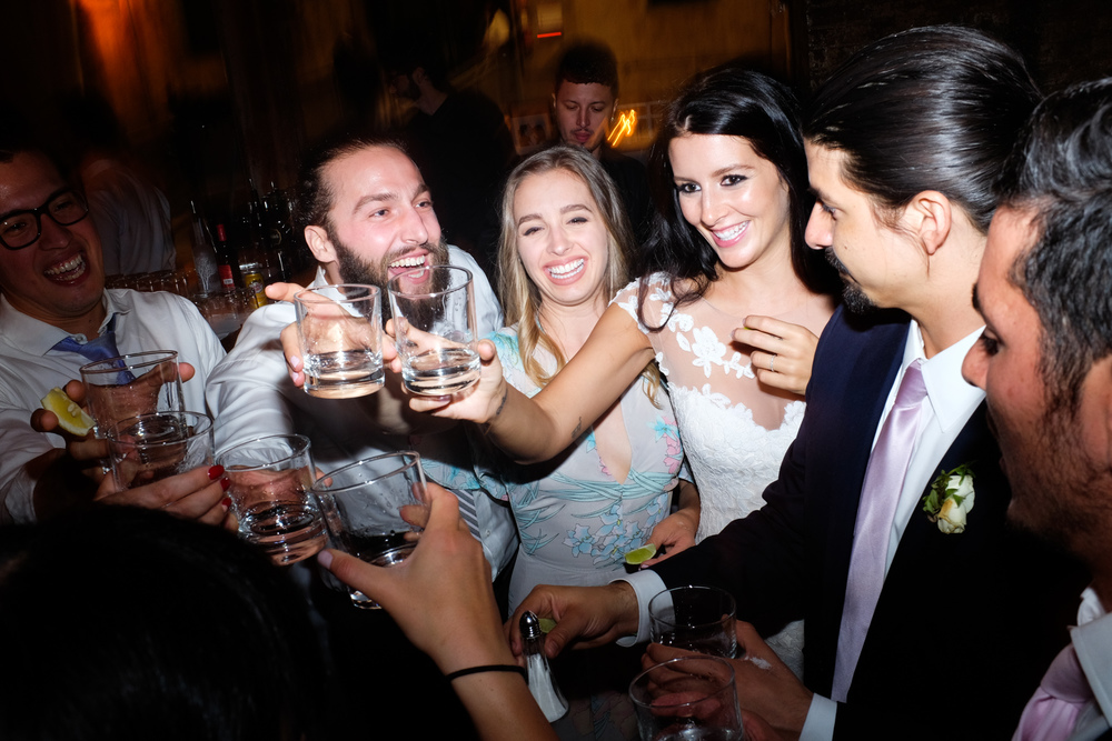 Shots! Shots! Shots!  at Danni + Felipe's wedding at the #Fermentingcellar in Toronto.