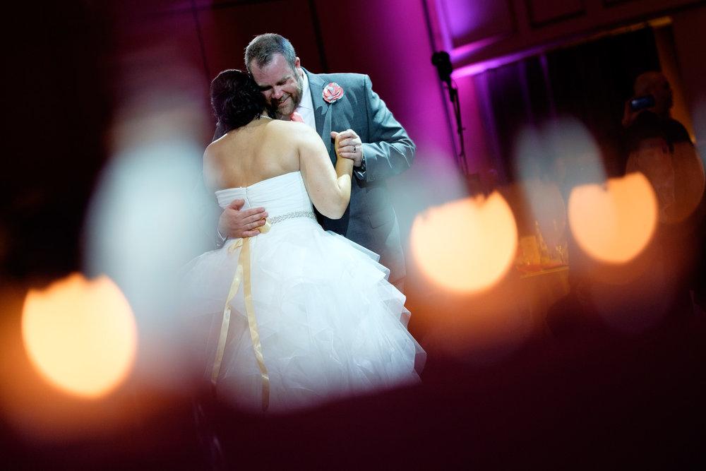 Melanie & David enjoy their first dance during their wedding reception at the Toscana Banquet Hall.