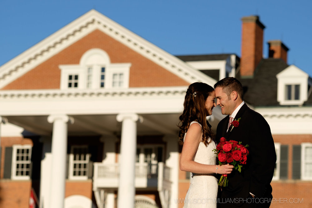 A wedding portrait taken at sunset in front of Langdon Hall in Cambridge, Ontario.