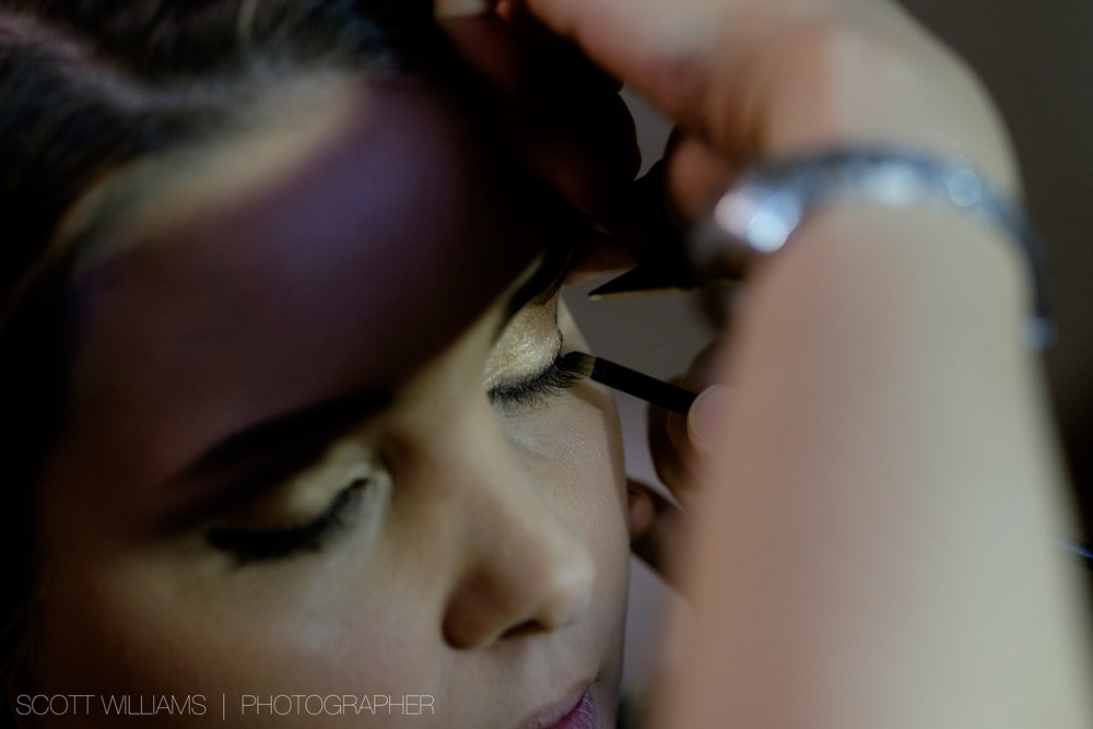 Christina has her make up done before her wedding at Malaparte in Toronto.
