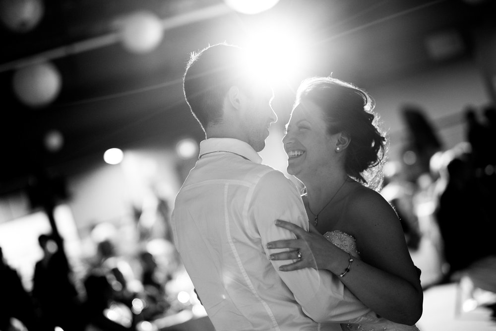 Kaylen + Robert enjoy their first dance as a newly married couple during their wedding reception at Federation Hall on the University of Waterloo campus in Waterloo, Ontario.