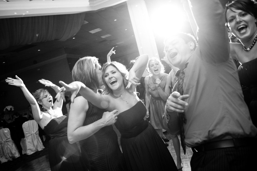 Guests party and dance late into the night during the reception at a Hamilton, Ontario wedding.