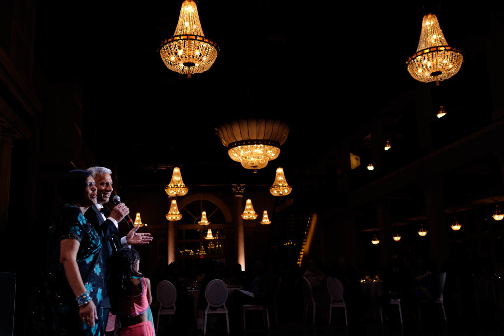 father of the bride gives a speech during the wedding reception at Toronto's liberty grand