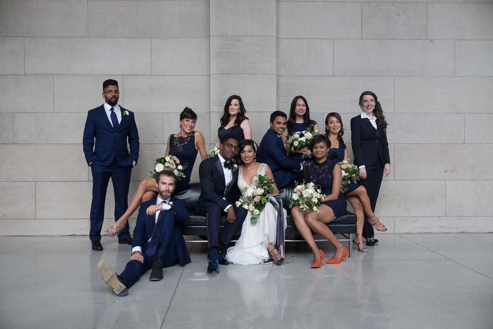 This one is from Najwa + Trevin's wedding at the Art Gallery of Ontario.   I always try to get a casual, relaxed portrait of the wedding party along with a more formal one.
