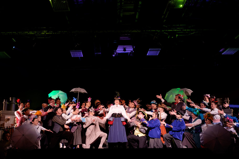 A theatre production photograph by Scott Williams of the stage production of Mary Poppins by The Community Players of New Hamburg in Ontario, Canada.