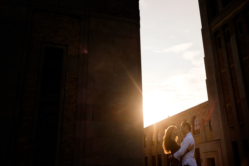 An engagement picture by Scott Williams of Cindy + Enrico at the R.C. Harris Water Treatment plant in the beaches neighbourhood in Toronto.