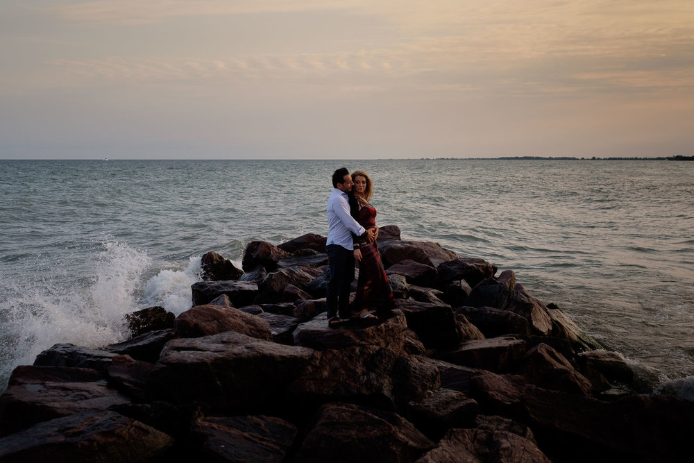 an engagement photograph of Cindy + Enrico from their toronto waterfront engagement session by Toronto wedding photographer Scott Williams.