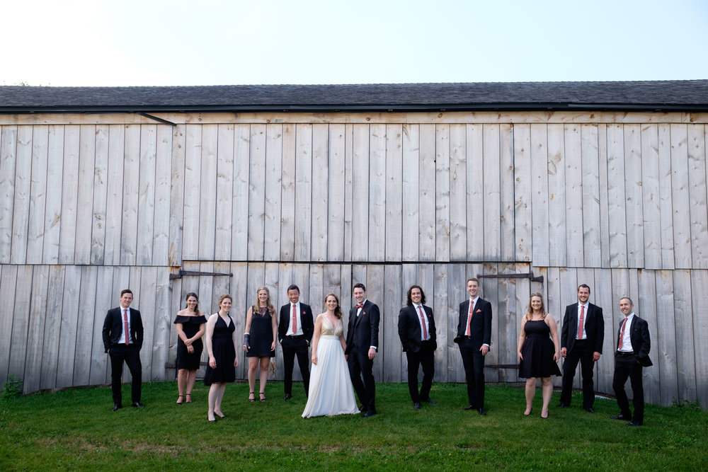 A photo of the wedding party from Jennifer and Andrew's wedding at the Markham Museum.