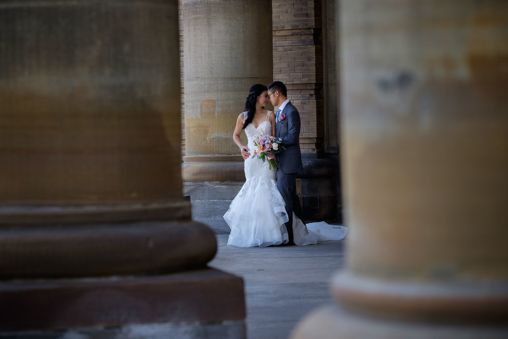 A wedding portrait of Linda + Andrew on the campus of University of Toronto.