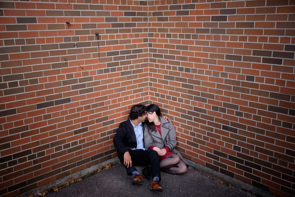 An engagement portrait of Chelsea + Danny from their fall engagement session in one of Toronto's parks.