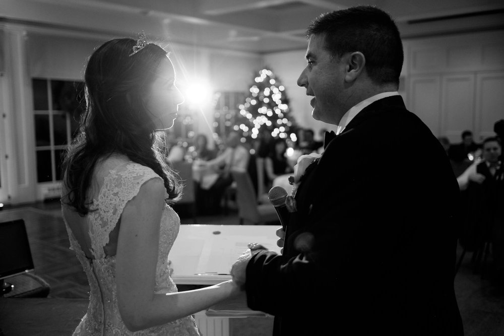 Roba and Amanda share a moment during their wedding toast at Langdon Hall.