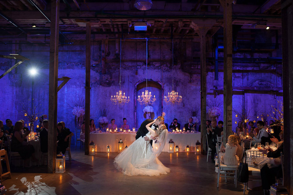 Renee & Ian finish their first dance in style during their wedding reception at the Fermenting Cellar in Toronto's Distillery District.