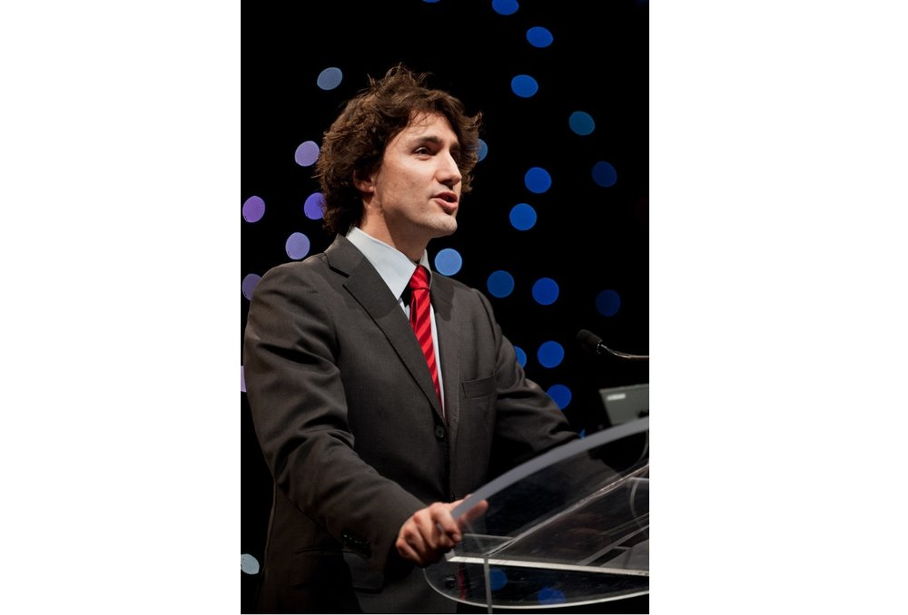 A photograph of Liberal Party leader Justin Trudeau at a speaking engagement in Toronto by commercial photographer Scott Williams.