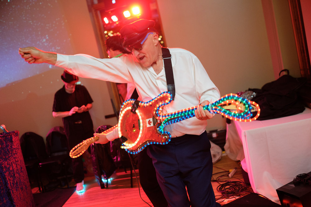 Stephen rocks out during the wedding reception at the Dominion Telegraph Event Centre in Paris, Ontario.