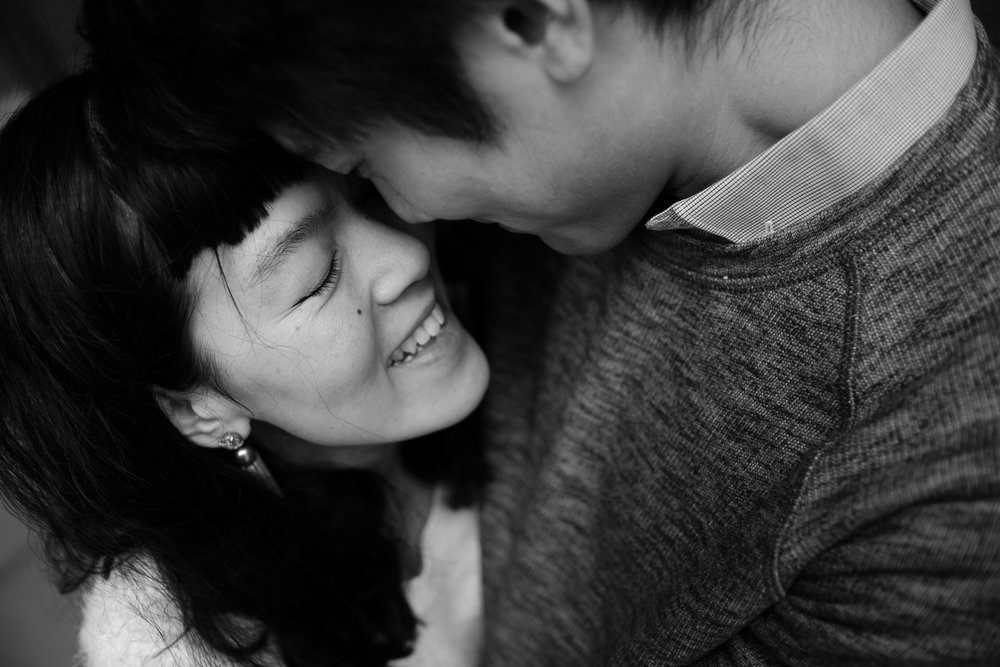 A black and white photograph from Huong and Aaron's Ottawa engagement session by Toronto wedding photographer Scott Williams (www.scottwilliamsphotographer.com)