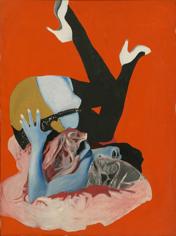 Rosalyn Drexler, Self Portrait, 1964  Acrylic and paper collage on canvas  39 7/8 × 29 7/8 inches