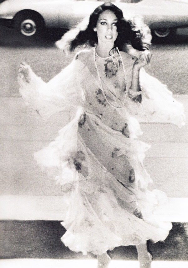 Marisa Berenson in Ossie Clark Dress, photographed by Norman Parkinson, 1960s