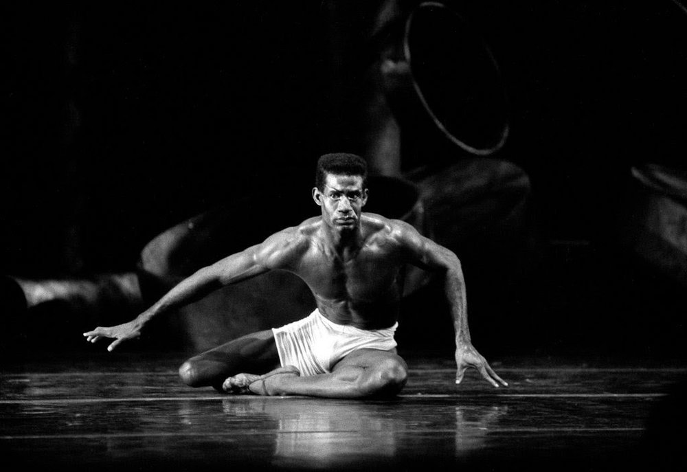 """Mel A. Tomlinson rehearsing """"The Afternoon of a Faun,"""" choreographed by Vaslav Nijinsky, at the Joyce Theater in New York in 1988. Mr. Tomlinson was a star performer with Dance Theater of Harlem, Alvin Ailey American Dance Theater and New York City Ballet.  CreditVic DeLucia/The New York Times"""