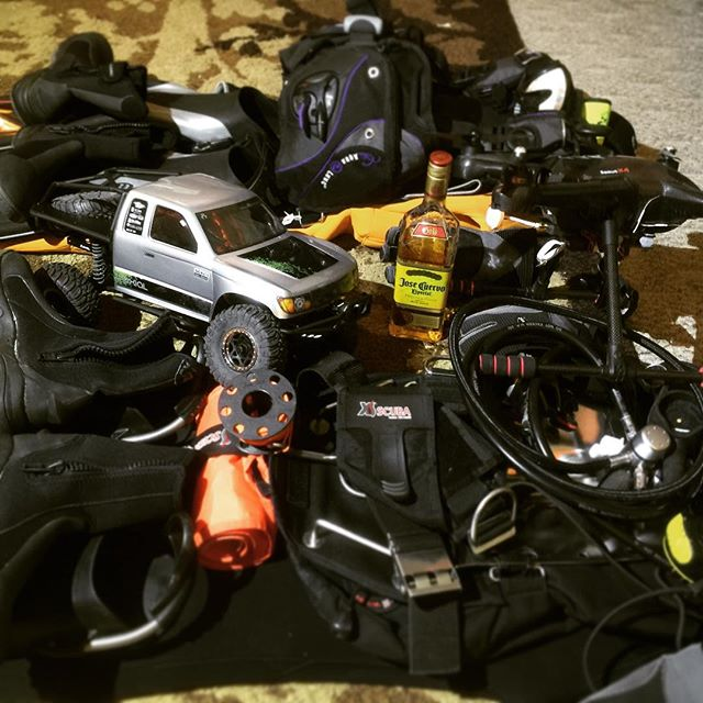 Putting together a fun weekend. #rc #scuba #drone
