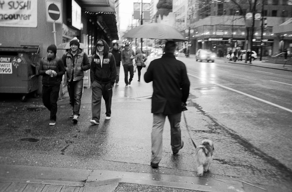 I was walking home from work and it was raining lightly. I recall having my camera pulled tight to me to avoid the rain. I saw the gentleman with his dog and then saw the corresponding other 3 fellows walking in the opposite direction. Just as they were moments from passing each other, I quickly raised my camera and took the photograph. In an instant, the moment was gone.