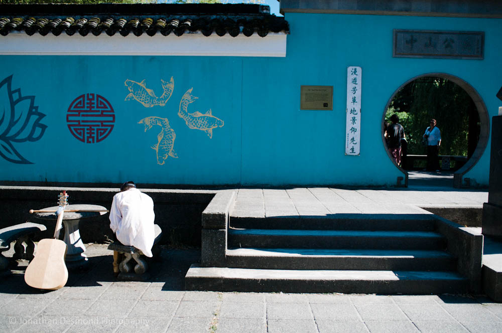 Sun Yat Sen Garden was recently painted a light blue color.