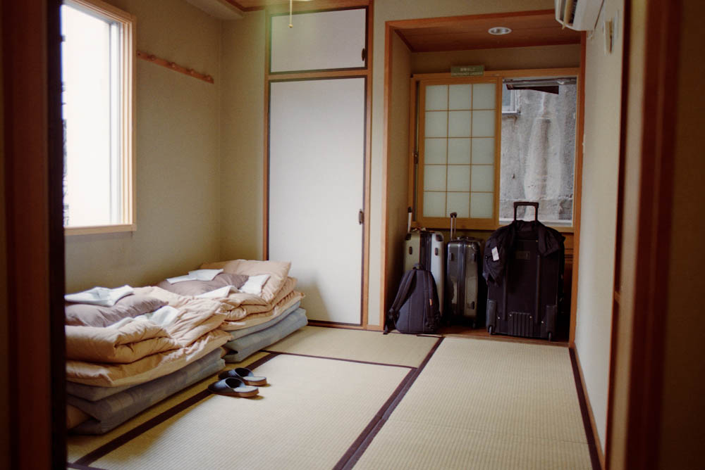 Our Japanese-style hostel room in Hiroshima.