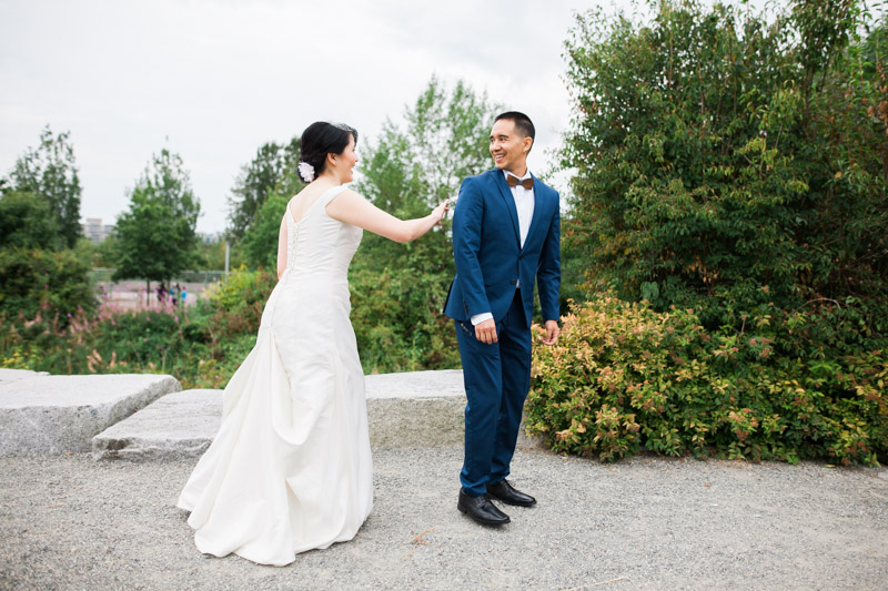 There was quite a bit of hustle and coordination involved to ensure the groom didn't see the bride prior to this moment but it was all worth it when Jesse turned around to see Patricia in her dress for the first time.