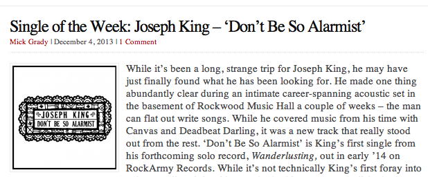 http://goodbyebabylon.com/wordpress2/2013/12/04/single-of-the-week-joseph-king-dont-be-so-alarmist/
