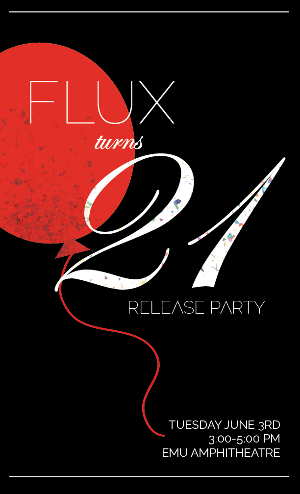 "Poster design option for our ""Flux Turns 21"" event."