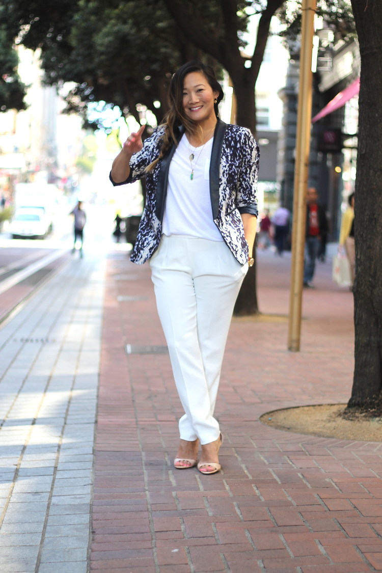 Top: T by Alexander Wang (similar here). Pants: Maje (old, similar here). Jacket: H&M (old,similar here). Heels: Zara. Necklaces: Jennifer Meyer charm (jade necklace from grandmother, Popo). Rings: Catbird. Watch: vintage Rolex.