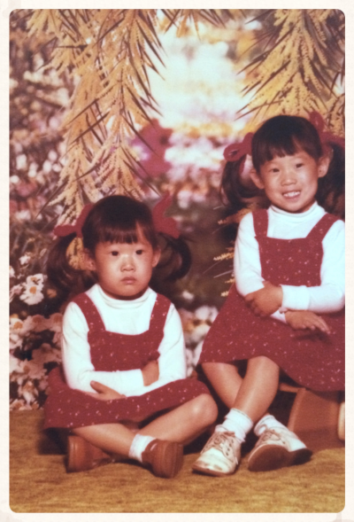 Yarn ribbons, red rompers over white turtlenecks and shoes that Pinocchio might have worn, style came to Selena and I even at an early age. Don't hate the playerz, hate the game. (I am the one on the right, not sulking because I got to sit on the stool.)