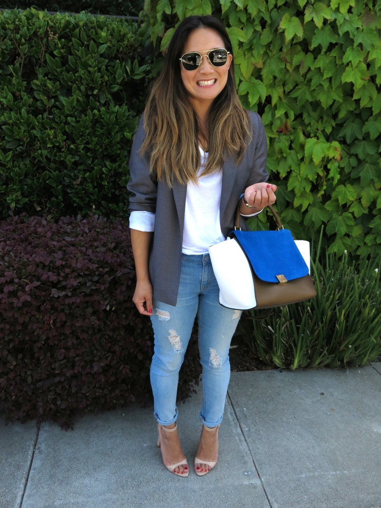 Blazer: Custom made in Shanghai (similar here). Jeans: Gap. Heels: Zara. Sunglasses: American Optics.