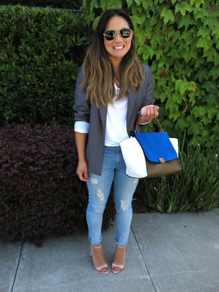 Blazer: Custom made in Shanghai (similar here). Jeans: Gap. Heels: Zara. Sunglasses: American Optics.