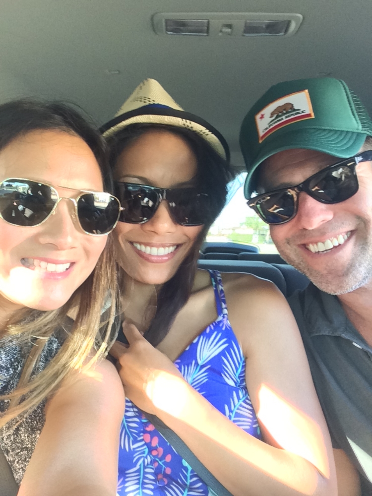 Squeezed in an Uber and on our way to a charity event on the beach.