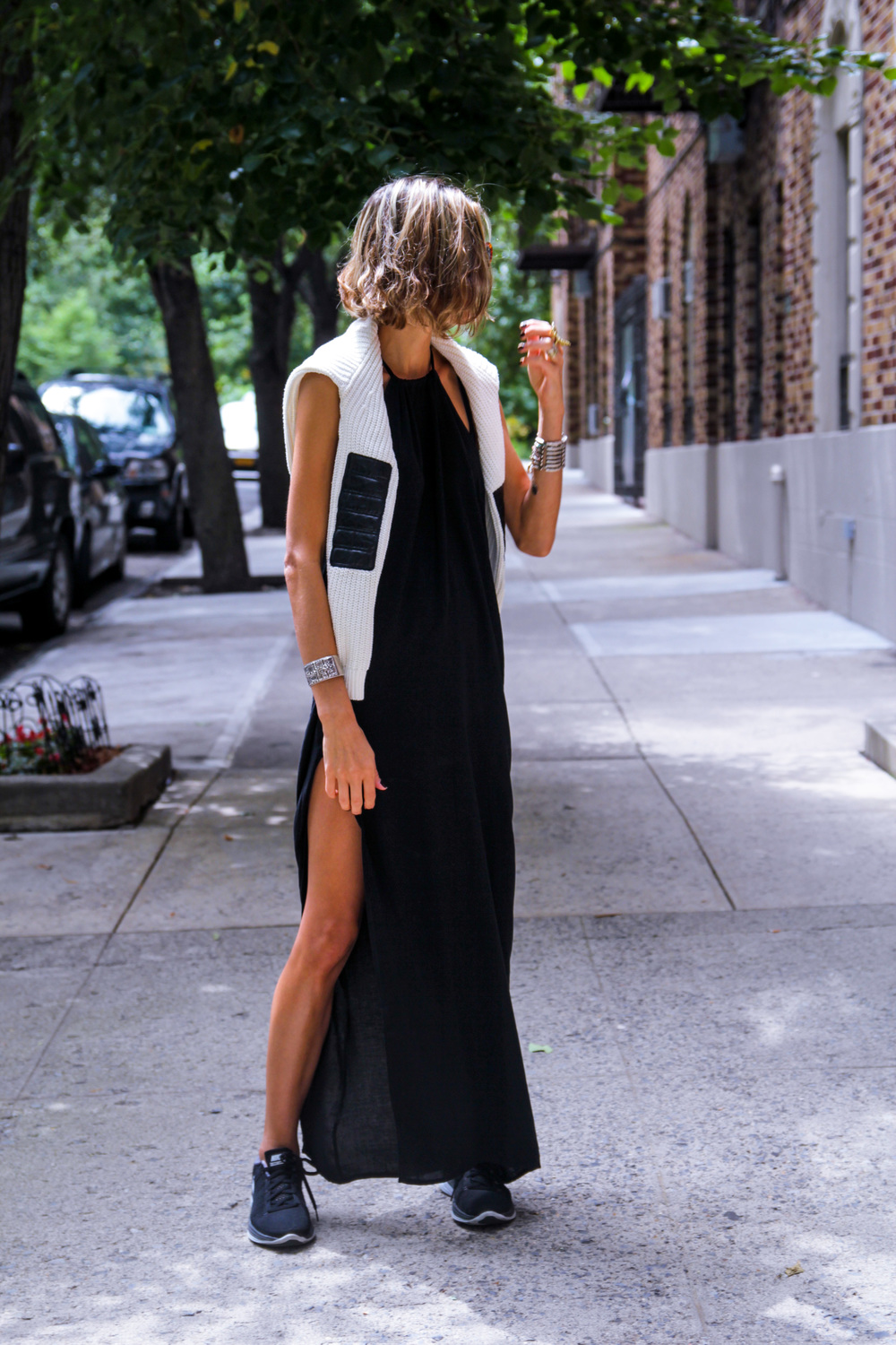 Wearing Black Maxi Dress  //  Zara Sweater  //  Nike Flyknit Lunar 2  //  The Row Sunglasses