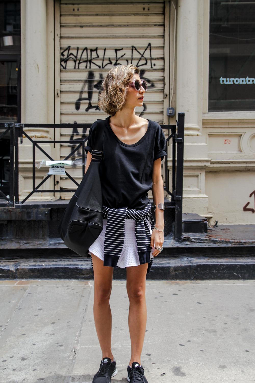 Wearing Zara White Skirt // Nike Flyknit Lunar2 Trainers // Zara Men Sweatshirt // Black Tee