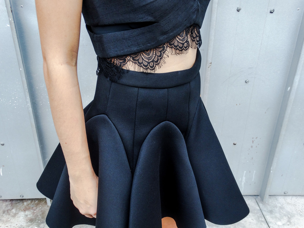 lace crop top skirt
